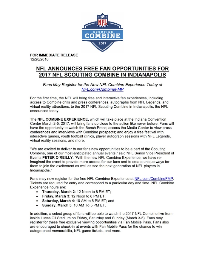 NFL Combine Experience Page 1